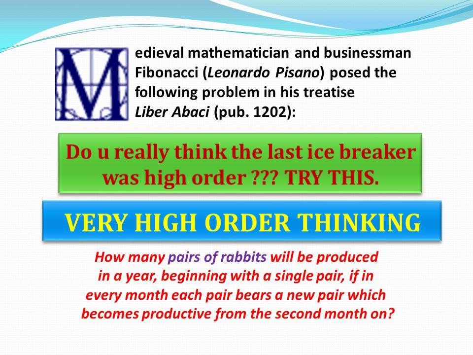 edieval mathematician and businessman Fibonacci (Leonardo Pisano) posed the following problem in his treatise Liber Abaci (pub. 1202): How many pairs