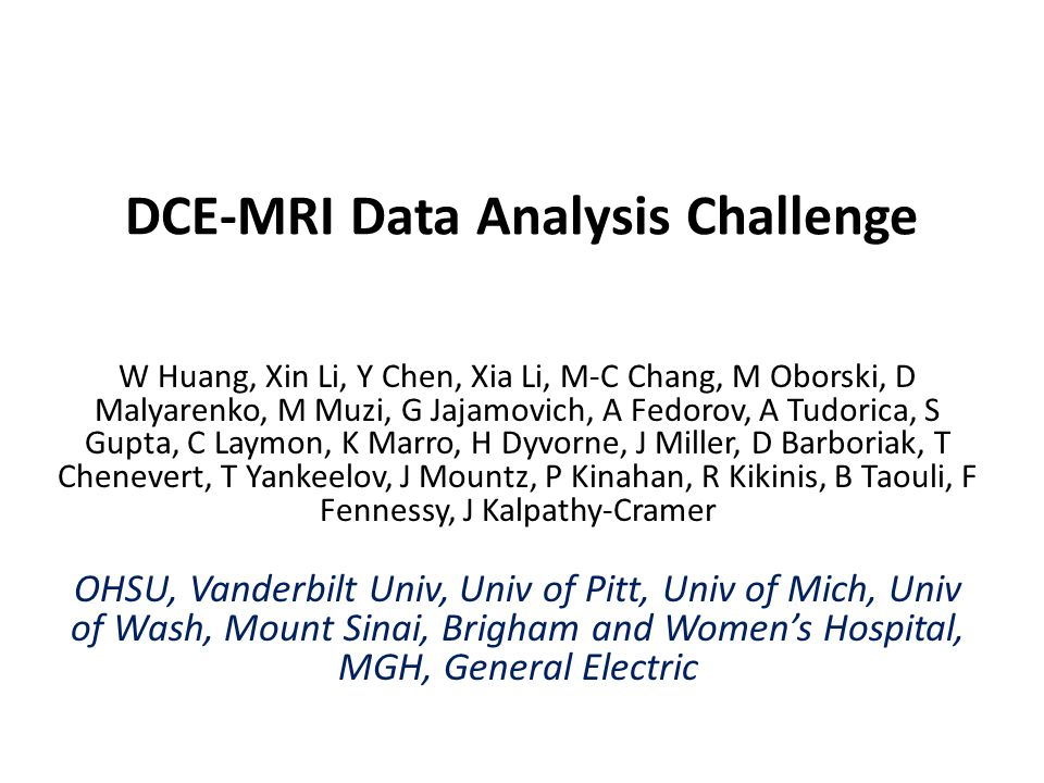 Purpose – To evaluate variations in DCE-MRI assessment of cancer therapy response when different pharmacokinetic data analysis algorithms/software packages are used.