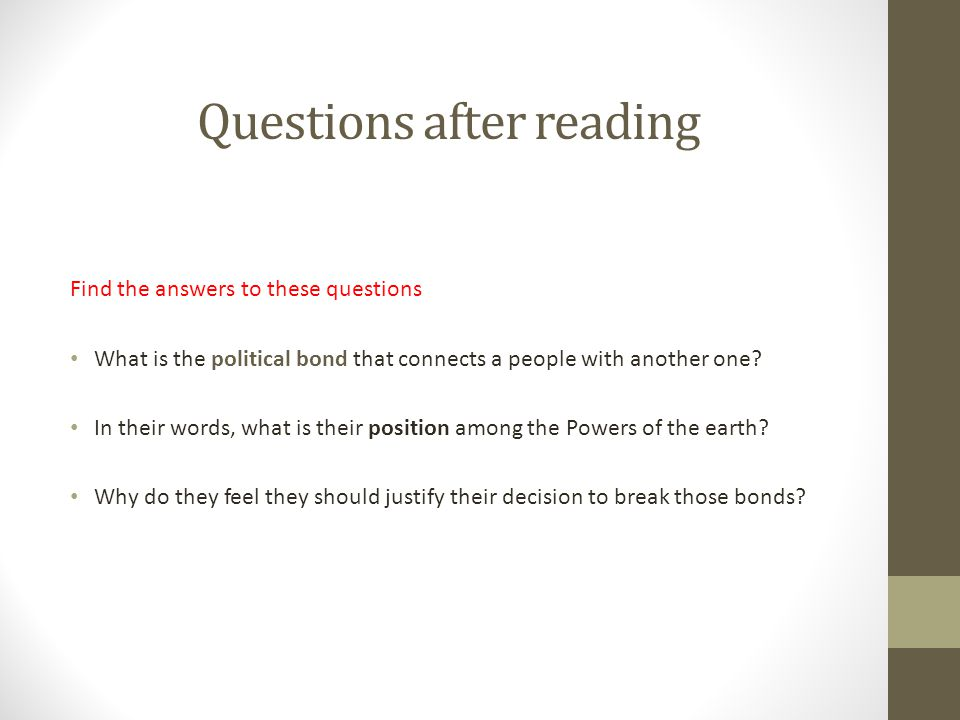 Questions after reading Find the answers to these questions What is the political bond that connects a people with another one.