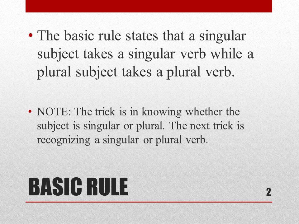 HINT Verbs do not form their plurals by adding an s as nouns do.