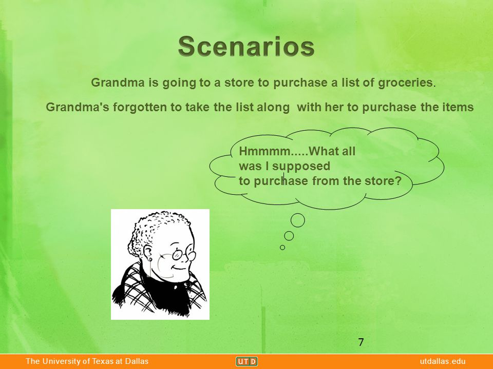 The University of Texas at Dallasutdallas.edu 7 Grandma is going to a store to purchase a list of groceries. Grandma's forgotten to take the list alon