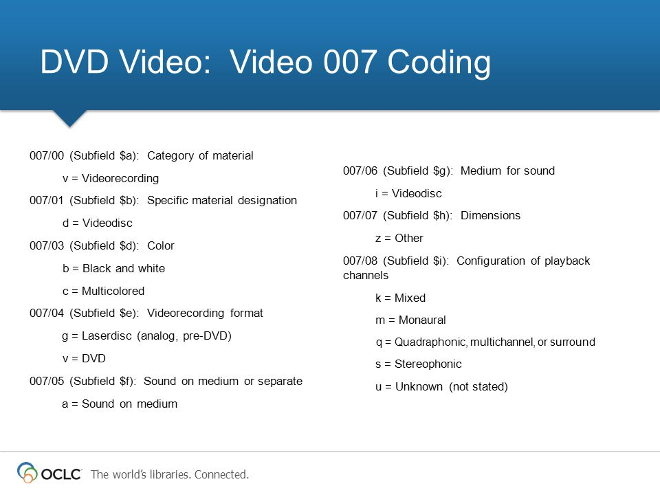 The world's libraries. Connected. 007/00 (Subfield $a): Category of material v = Videorecording 007/01 (Subfield $b): Specific material designation d