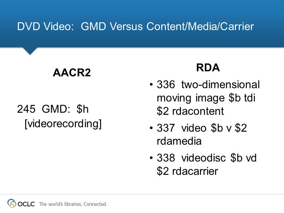 The world's libraries. Connected. RDA 336 two-dimensional moving image $b tdi $2 rdacontent 337 video $b v $2 rdamedia 338 videodisc $b vd $2 rdacarri