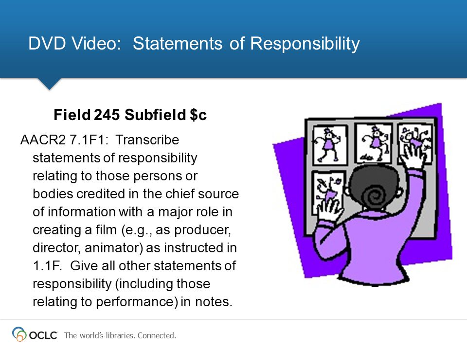 The world's libraries. Connected. Field 245 Subfield $c AACR2 7.1F1: Transcribe statements of responsibility relating to those persons or bodies credi