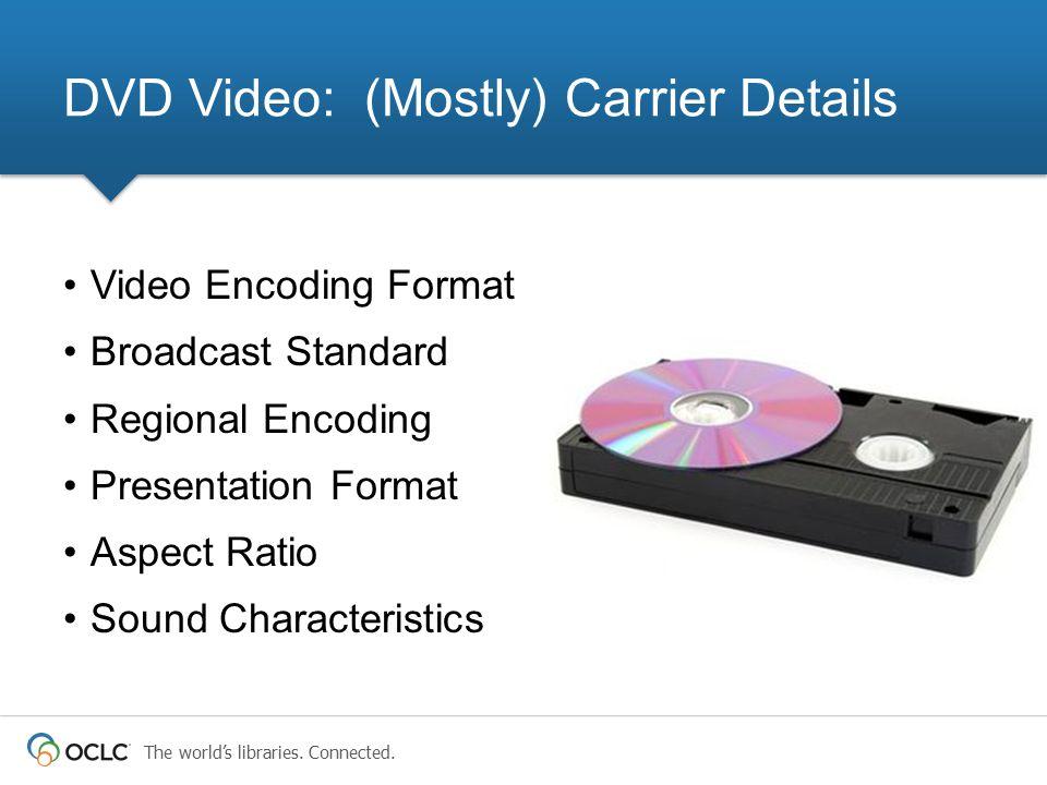 The world's libraries. Connected. Video Encoding Format Broadcast Standard Regional Encoding Presentation Format Aspect Ratio Sound Characteristics DV