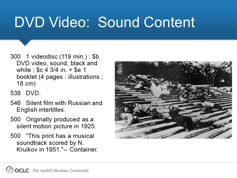 The world's libraries. Connected. 300 1 videodisc (119 min.) : $b DVD video, sound, black and white ; $c 4 3/4 in. + $e 1 booklet (4 pages : illustrat