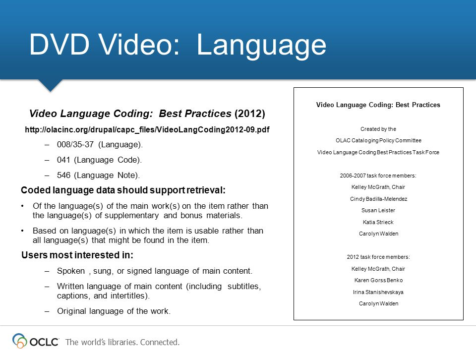 The world's libraries. Connected. Video Language Coding: Best Practices (2012) http://olacinc.org/drupal/capc_files/VideoLangCoding2012-09.pdf –008/35
