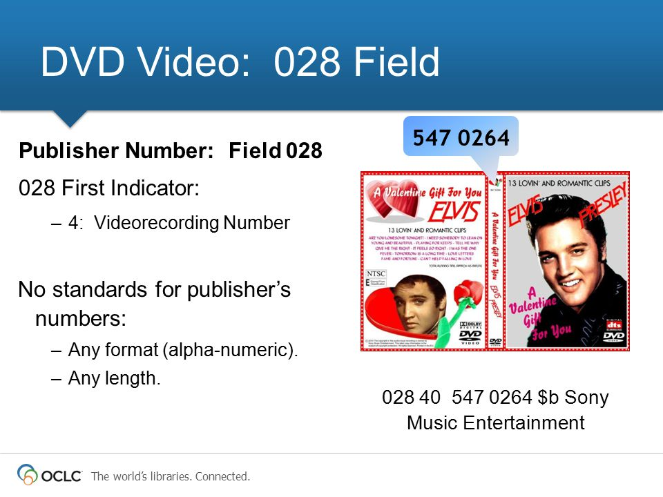 The world's libraries. Connected. 028 40 547 0264 $b Sony Music Entertainment DVD Video: 028 Field Publisher Number: Field 028 028 First Indicator: –4