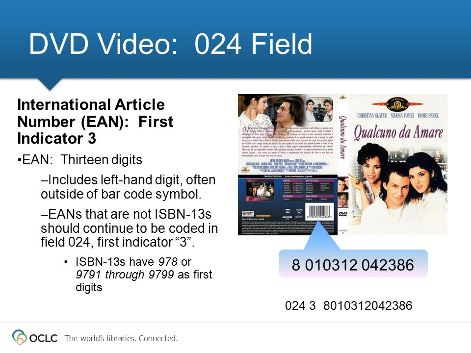 The world's libraries. Connected. 024 3 8010312042386 DVD Video: 024 Field International Article Number (EAN): First Indicator 3 EAN: Thirteen digits