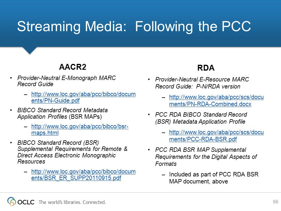 The world's libraries. Connected. AACR2 Provider-Neutral E-Monograph MARC Record Guide –http://www.loc.gov/aba/pcc/bibco/docum ents/PN-Guide.pdfhttp:/