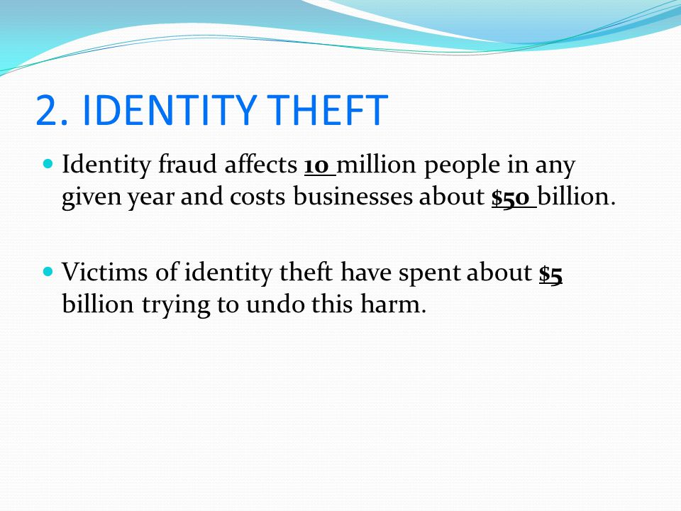 2. IDENTITY THEFT Identity fraud affects 10 million people in any given year and costs businesses about $50 billion. Victims of identity theft have sp