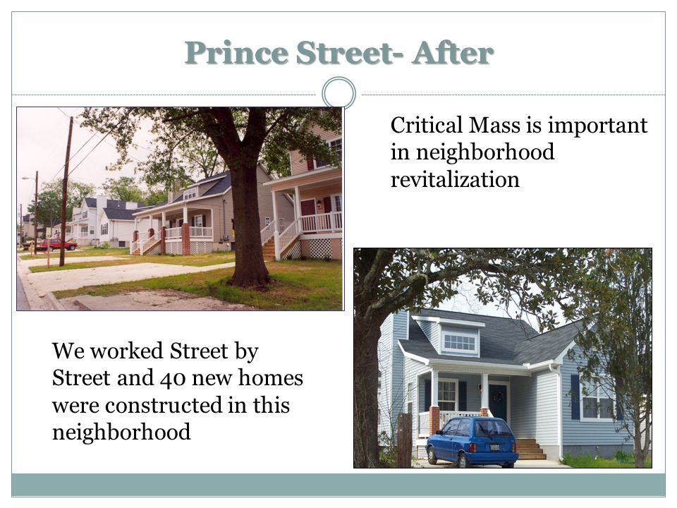 Prince Street- After Critical Mass is important in neighborhood revitalization We worked Street by Street and 40 new homes were constructed in this neighborhood