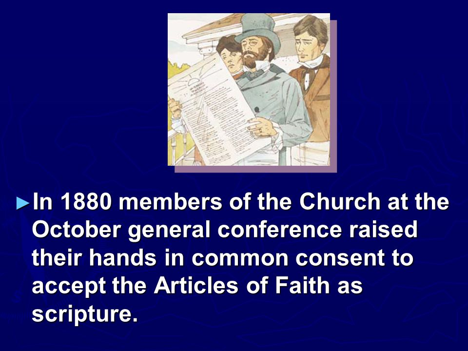 ► The Articles of Faith were never published in Barstow's history of New Hampshire or in Wentworth's newspaper, but they were published by a Church newspaper in 1842.