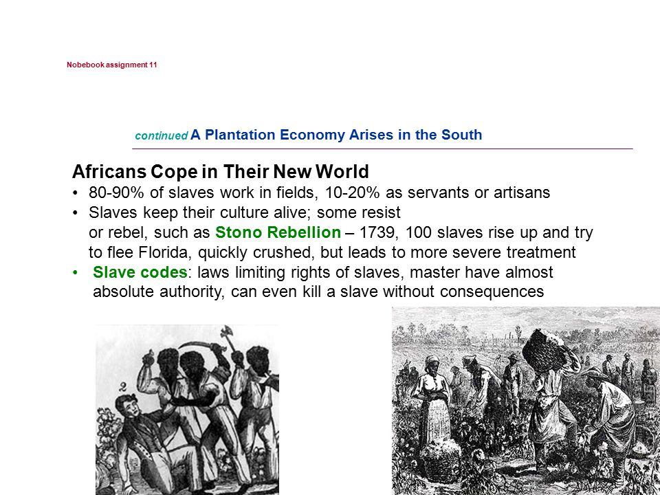 NEXT Africans Cope in Their New World 80-90% of slaves work in fields, 10-20% as servants or artisans Slaves keep their culture alive; some resist or