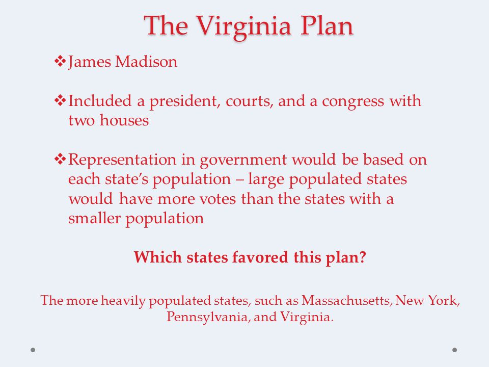 The Virginia Plan  James Madison  Included a president, courts, and a congress with two houses  Representation in government would be based on each state's population – large populated states would have more votes than the states with a smaller population Which states favored this plan.