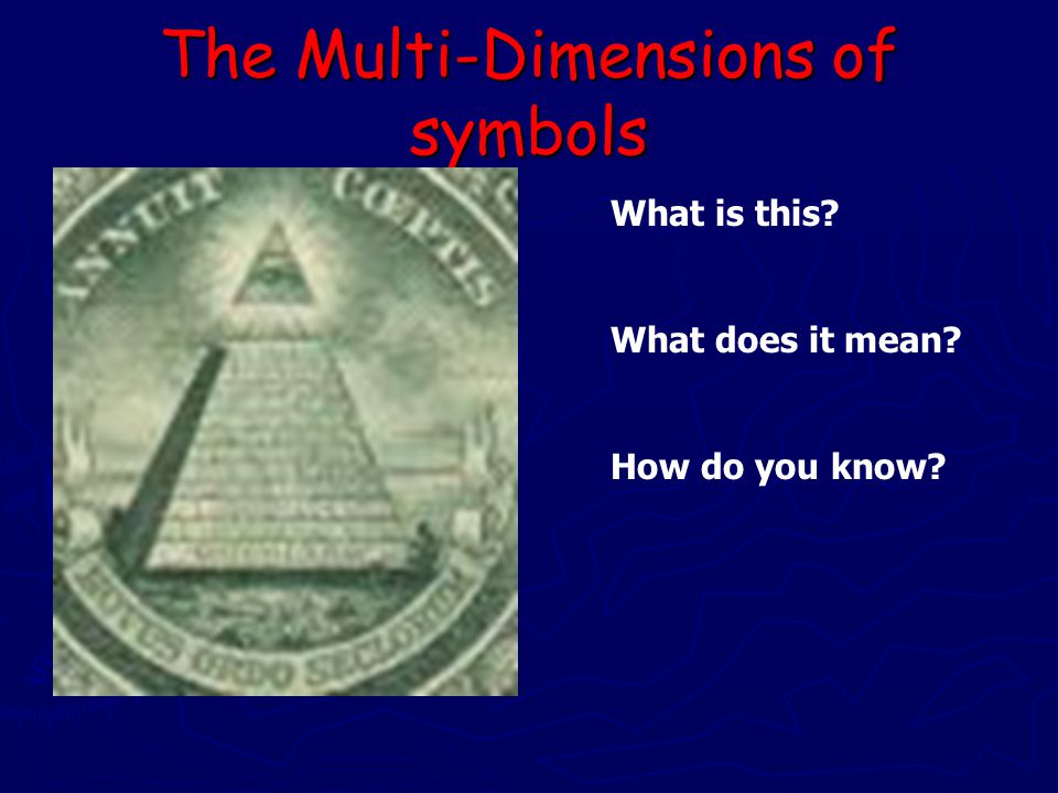 The Multi-Dimensions of symbols What is this What does it mean How do you know