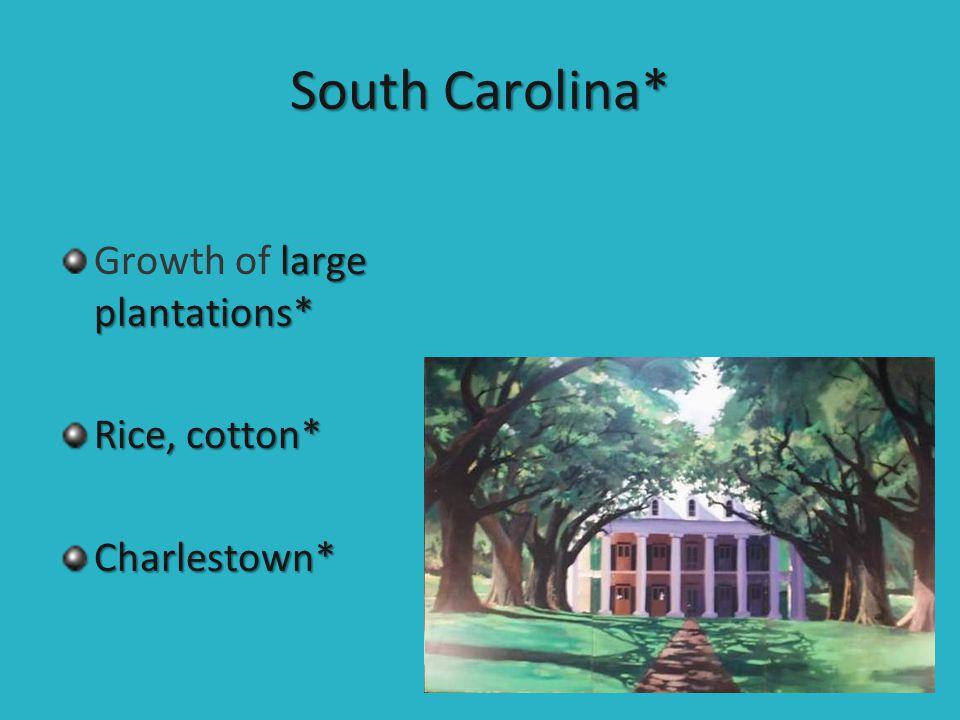 South Carolina* large plantations* Growth of large plantations* Rice, cotton* Charlestown*