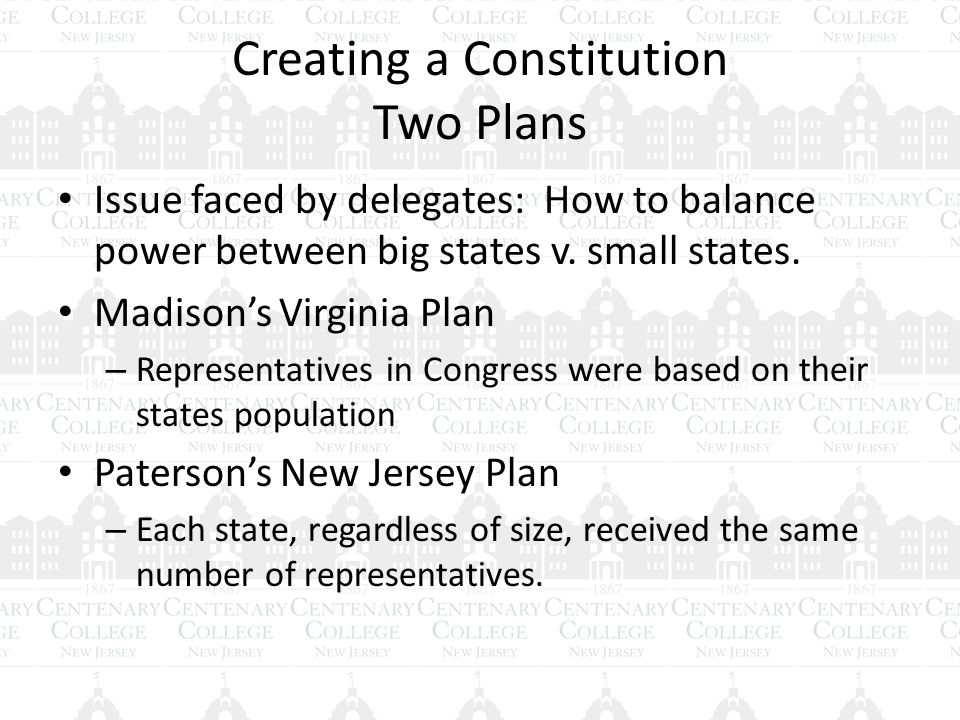 Creating a Constitution Two Plans Issue faced by delegates: How to balance power between big states v.