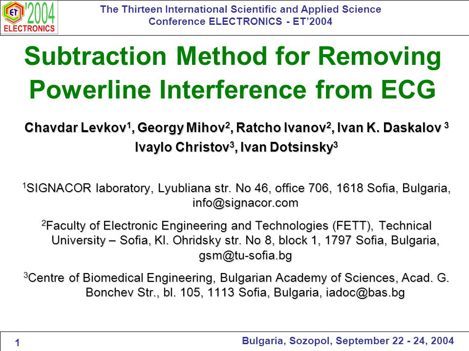 The Thirteen International Scientific and Applied Science Conference ELECTRONICS - ET'2004 Bulgaria, Sozopol, September 22 - 24, 2004 Test for non-multiple sampling, F=60 Hz and Ф=250 Hz.
