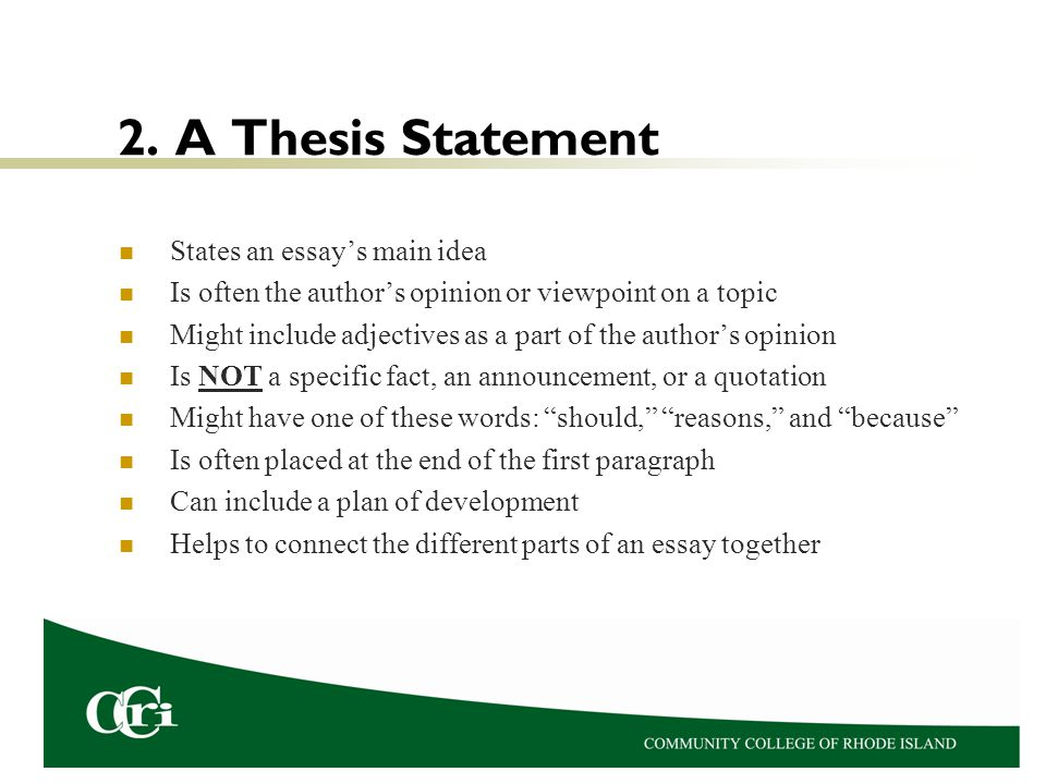 essay on thesis statement