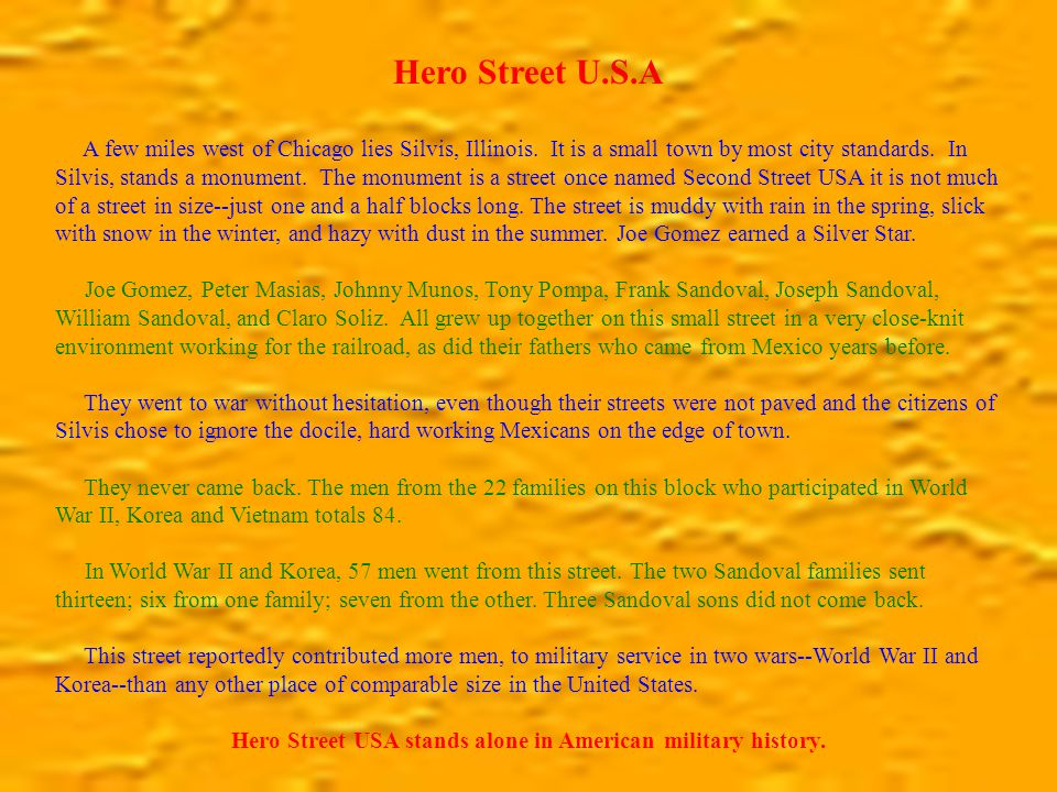 Hero Street U.S.A A few miles west of Chicago lies Silvis, Illinois.