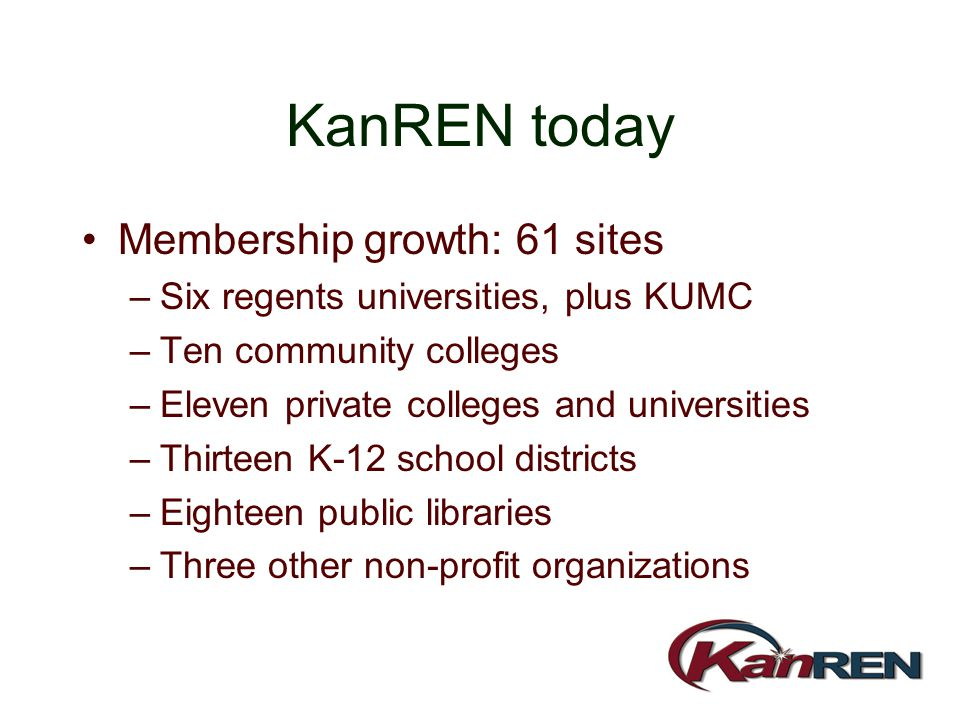 KanREN today Membership growth: 61 sites –Six regents universities, plus KUMC –Ten community colleges –Eleven private colleges and universities –Thirt