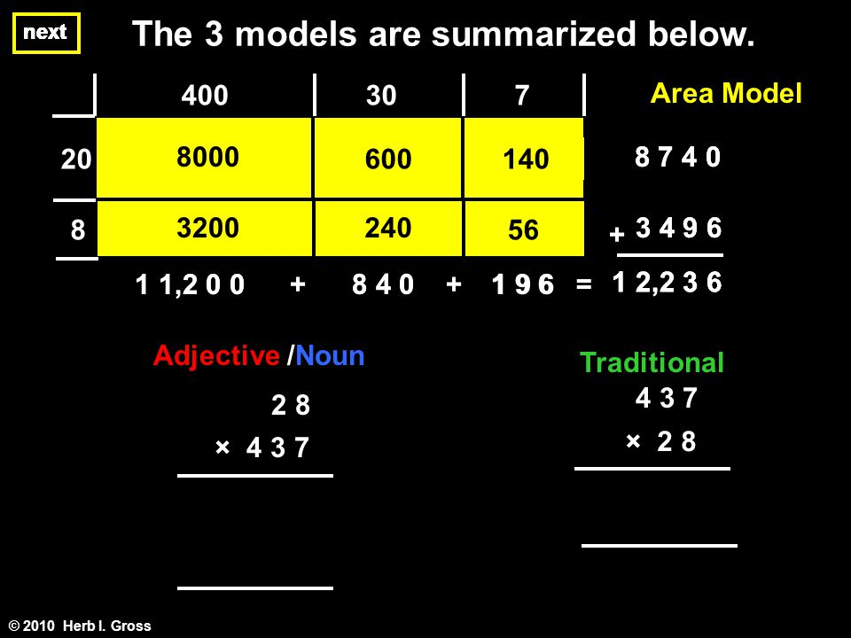 next The 3 models are summarized below. © 2010 Herb I.