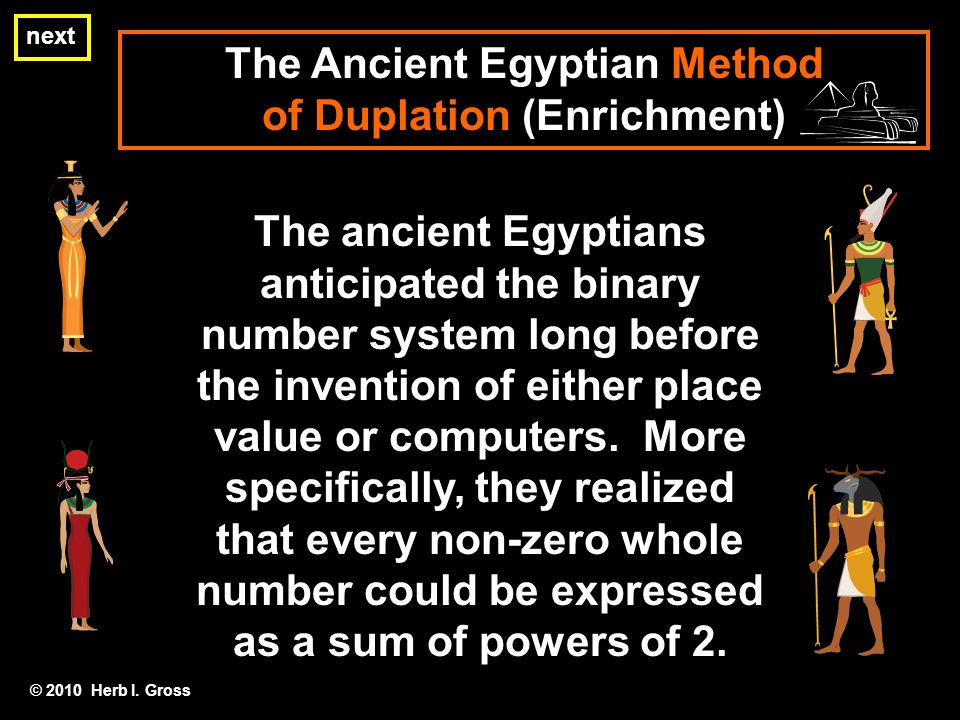 The ancient Egyptians anticipated the binary number system long before the invention of either place value or computers.