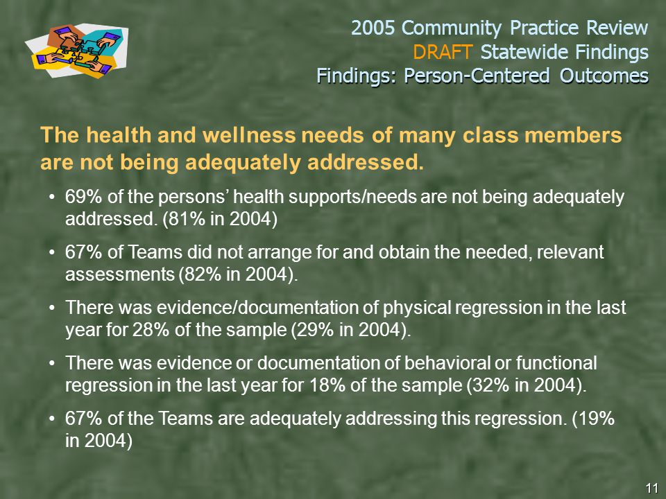 2005 Community Practice Review DRAFT Statewide Findings 11 Findings: Person-Centered Outcomes The health and wellness needs of many class members are not being adequately addressed.