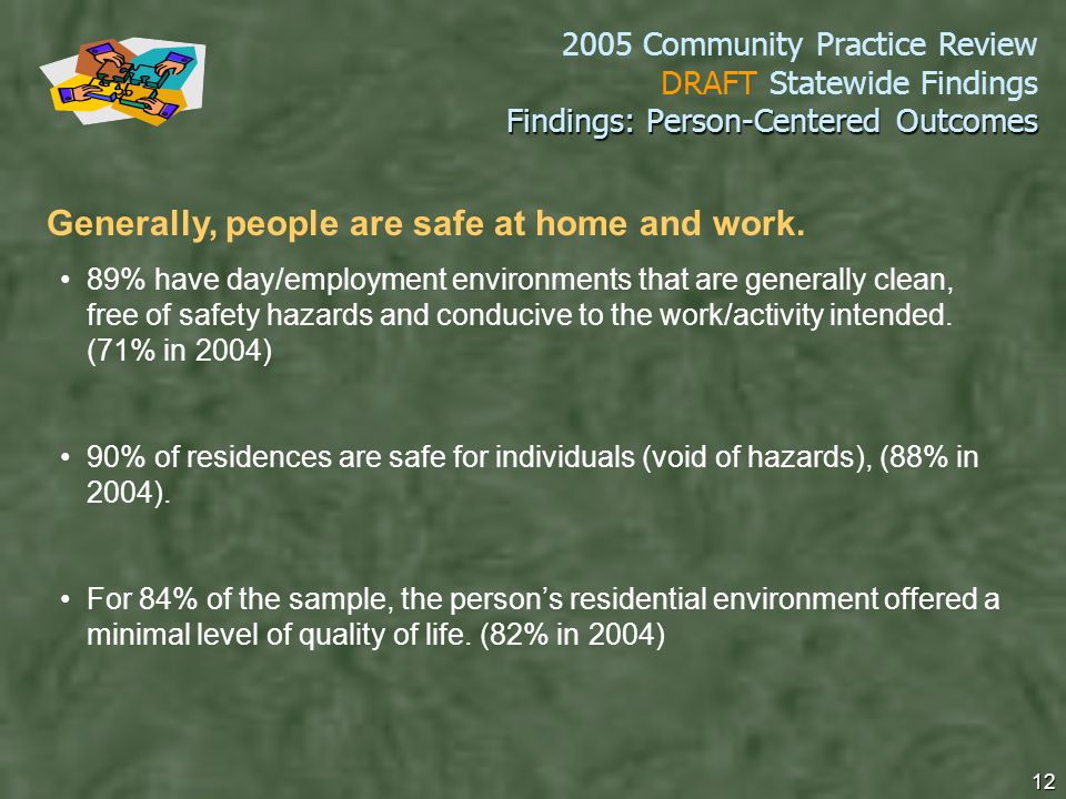 2005 Community Practice Review DRAFT Statewide Findings 12 Findings: Person-Centered Outcomes Generally, people are safe at home and work.