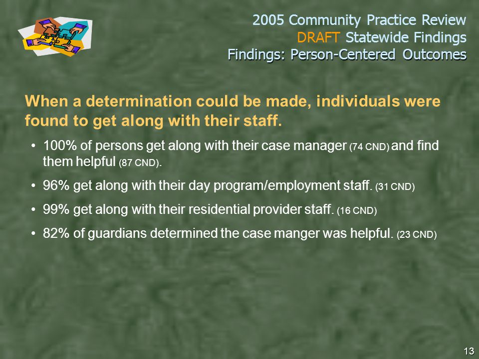 2005 Community Practice Review DRAFT Statewide Findings 13 Findings: Person-Centered Outcomes When a determination could be made, individuals were found to get along with their staff.