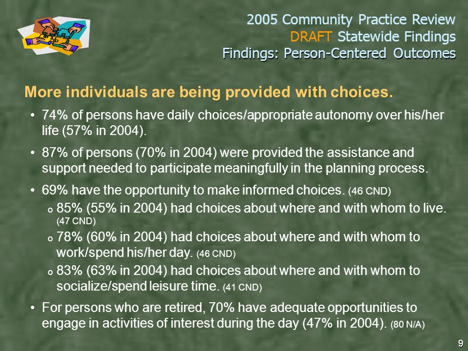 2005 Community Practice Review DRAFT Statewide Findings 9 Findings: Person-Centered Outcomes More individuals are being provided with choices.