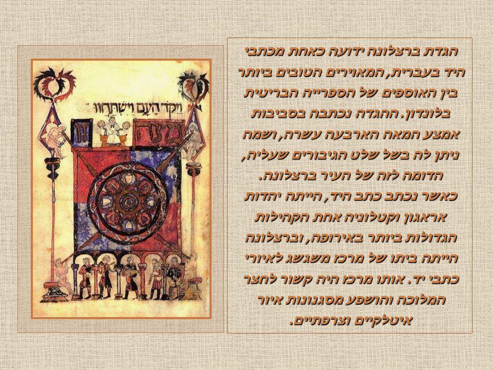 הגדת ברצלונה ידועה כאחת מכתבי היד בעברית, המאוירים הטובים ביותר בין האוספים של הספרייה הבריטית בלונדון.