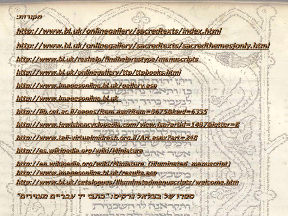 מקורות: http://www.bl.uk/onlinegallery/sacredtexts/index.html http://www.bl.uk/onlinegallery/sacredtexts/sacredthemesjonly.html http://www.bl.uk/reshelp/findhelprestype/manuscripts http://www.bl.uk/onlinegallery/ttp/ttpbooks.html http://www.imagesonline.bl.uk/gallery.asp http://www.imagesonline.bl.uk http://lib.cet.ac.il/pages/item.asp item=8675&kwd=6335 http://www.jewishencyclopedia.com/view.jsp artid=1487&letter=B http://www.tali-virtualmidrash.org.il/Art.aspx art=248 http://es.wikipedia.org/wiki/Miniatura http://en.wikipedia.org/wiki/Miniature_(illuminated_manuscript) http://www.imagesonline.bl.uk/results.asp http://www.bl.uk/catalogues/illuminatedmanuscripts/welcome.htm ספרו של בצלאל נרקיס: כתבי יד עבריים מצוירים