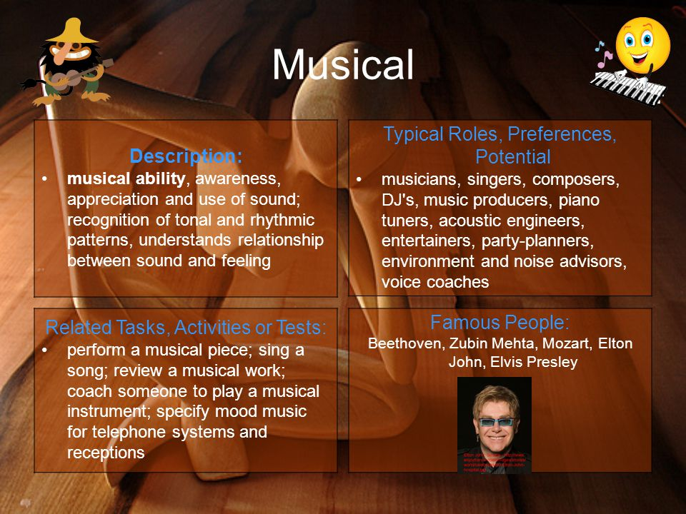 Musical Description: musical ability, awareness, appreciation and use of sound; recognition of tonal and rhythmic patterns, understands relationship between sound and feeling Typical Roles, Preferences, Potential musicians, singers, composers, DJ s, music producers, piano tuners, acoustic engineers, entertainers, party-planners, environment and noise advisors, voice coaches Related Tasks, Activities or Tests: perform a musical piece; sing a song; review a musical work; coach someone to play a musical instrument; specify mood music for telephone systems and receptions Famous People: Beethoven, Zubin Mehta, Mozart, Elton John, Elvis Presley