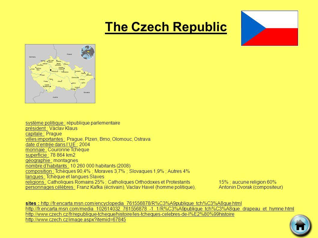 The Czech Republic système politique : république parlementaire président : Václav Klaus capitale : Prague villes importantes : Prague, Plzen, Brno, O