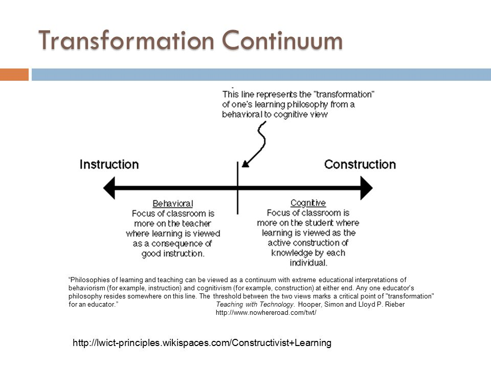 Transformation Continuum Philosophies of learning and teaching can be viewed as a continuum with extreme educational interpretations of behaviorism (for example, instruction) and cognitivism (for example, construction) at either end.