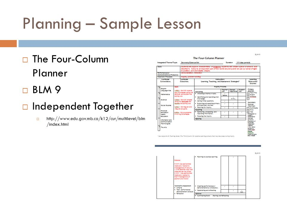 Planning – Sample Lesson  The Four-Column Planner  BLM 9  Independent Together  http://www.edu.gov.mb.ca/k12/cur/multilevel/blm /index.html