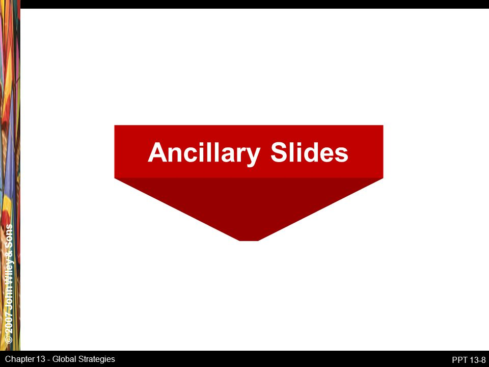 © 2007 John Wiley & Sons Chapter 13 - Global Strategies PPT 13-8 Ancillary Slides