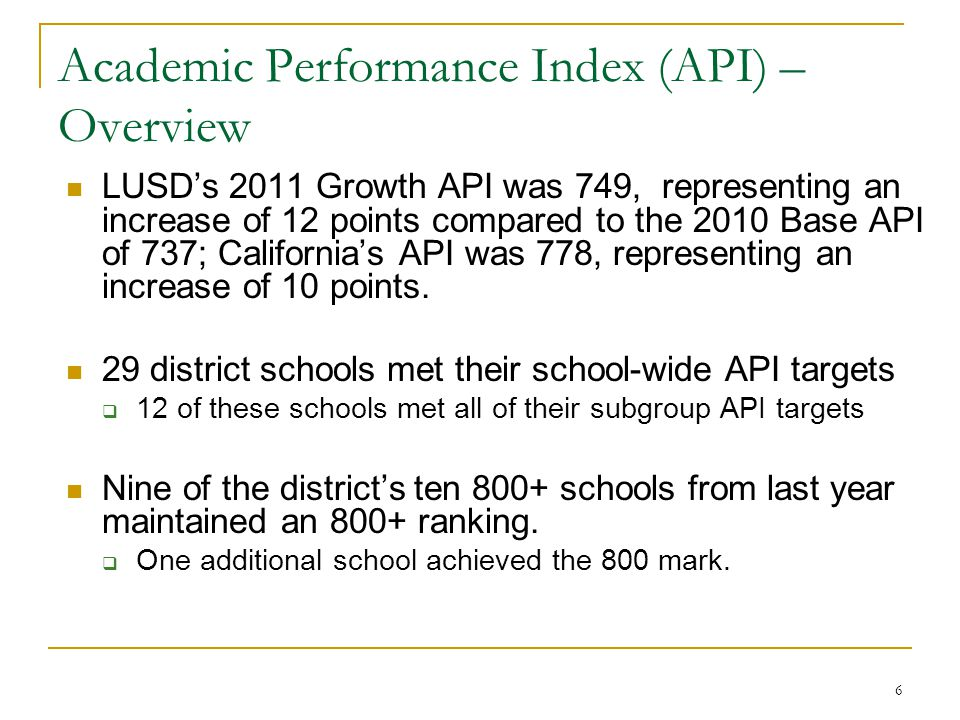 6 Academic Performance Index (API) – Overview LUSD's 2011 Growth API was 749, representing an increase of 12 points compared to the 2010 Base API of 737; California's API was 778, representing an increase of 10 points.