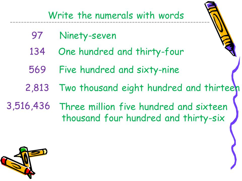 Write the numerals with words 97Ninety-seven 134One hundred and thirty-four 569Five hundred and sixty-nine 2,813Two thousand eight hundred and thirteen Three million five hundred and sixteen thousand four hundred and thirty-six 3,516,436