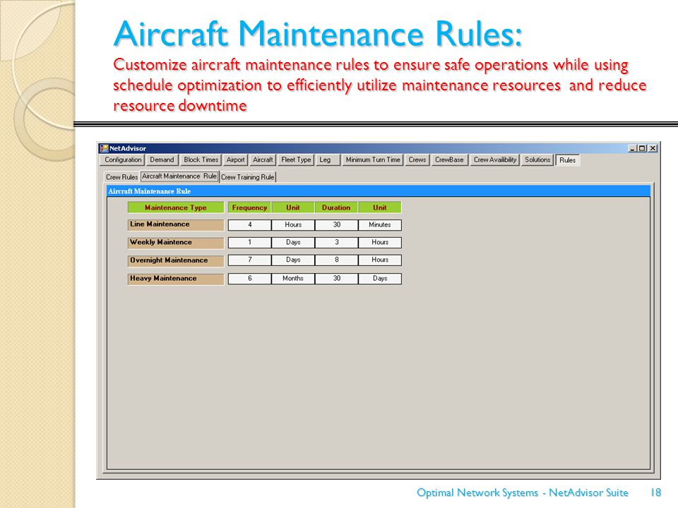 Aircraft Maintenance Rules: Customize aircraft maintenance rules to ensure safe operations while using schedule optimization to efficiently utilize ma