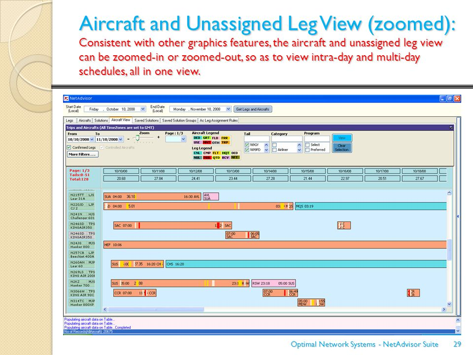 Aircraft and Unassigned Leg View (zoomed): Consistent with other graphics features, the aircraft and unassigned leg view can be zoomed-in or zoomed-ou