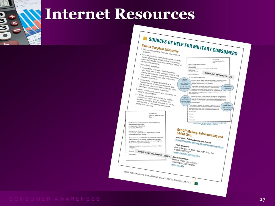 C O N S U M E R A W A R E N E S S 27 Internet Resources Sources of Help for Military Consumers Handout