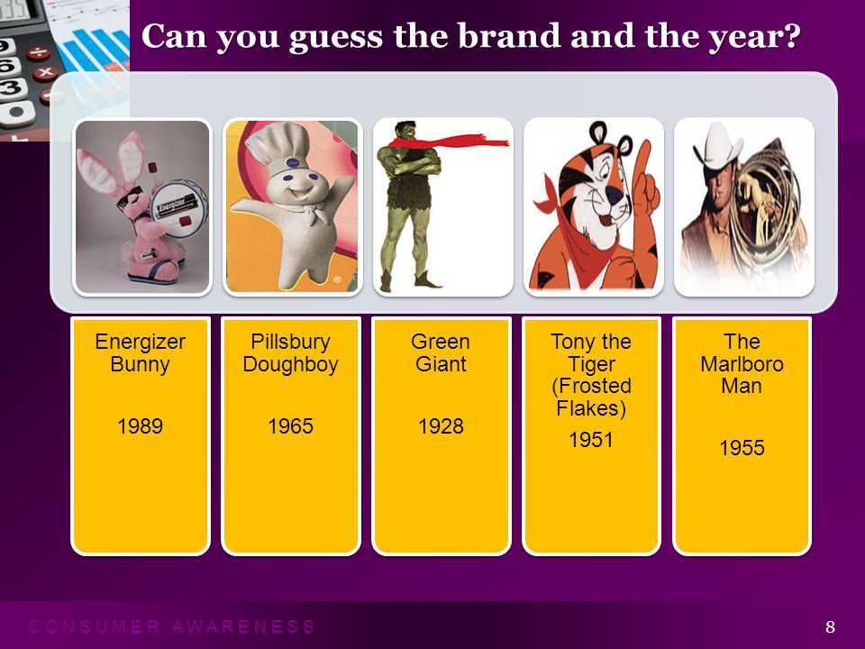 C O N S U M E R A W A R E N E S S 8 Energizer Bunny 1989 Pillsbury Doughboy 1965 Green Giant 1928 Tony the Tiger (Frosted Flakes) 1951 The Marlboro Man 1955 Can you guess the brand and the year?