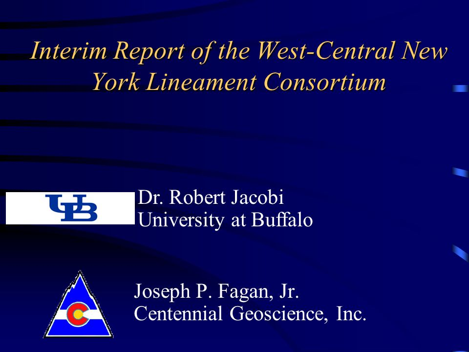 Interim Report of the West-Central New York Lineament Consortium Joseph P.