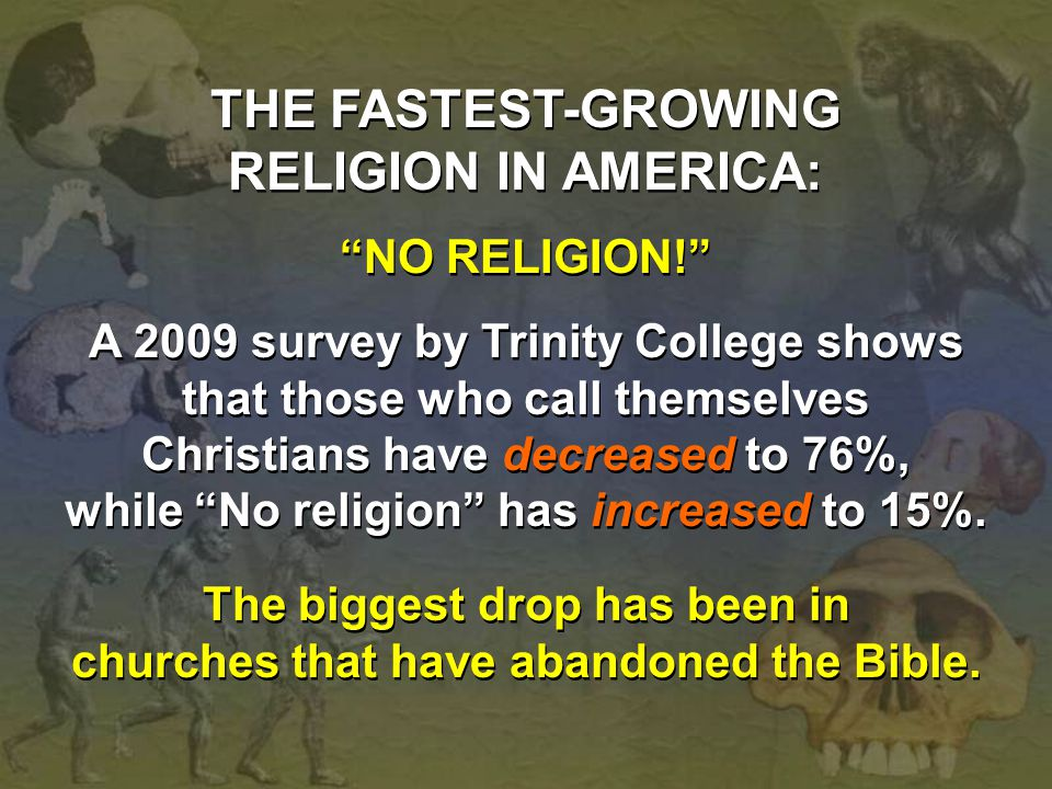 "THE FASTEST-GROWING RELIGION IN AMERICA: ""NO RELIGION!"" A 2009 survey by Trinity College shows that those who call themselves Christians have decrease"