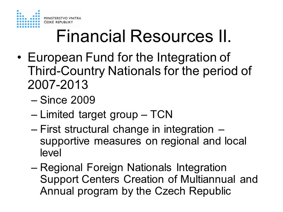 Financial Resources II.