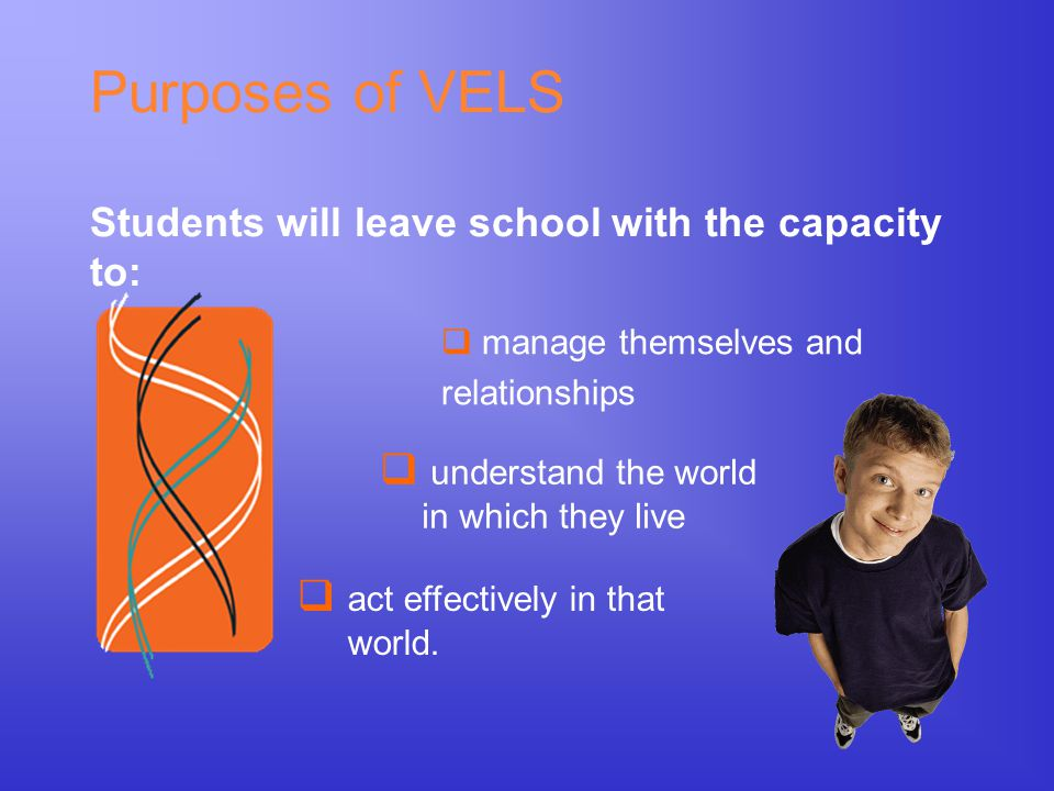 Purposes of VELS Students will leave school with the capacity to:  manage themselves and relationships  understand the world in which they live  ac