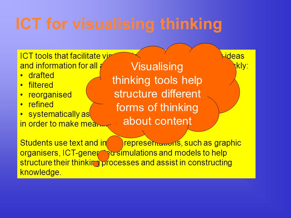 ICT for visualising thinking ICT tools that facilitate visual thinking are ones that allow ideas and information for all areas of learning to be easil